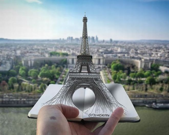 Fantastic Sketches Merged With Real Life Places