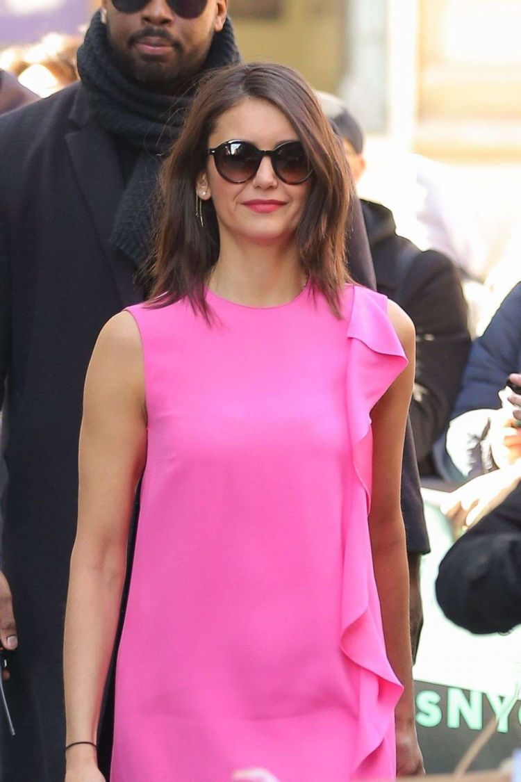 Nina Dobrev In Pink While Arriving At Build Studio In NY