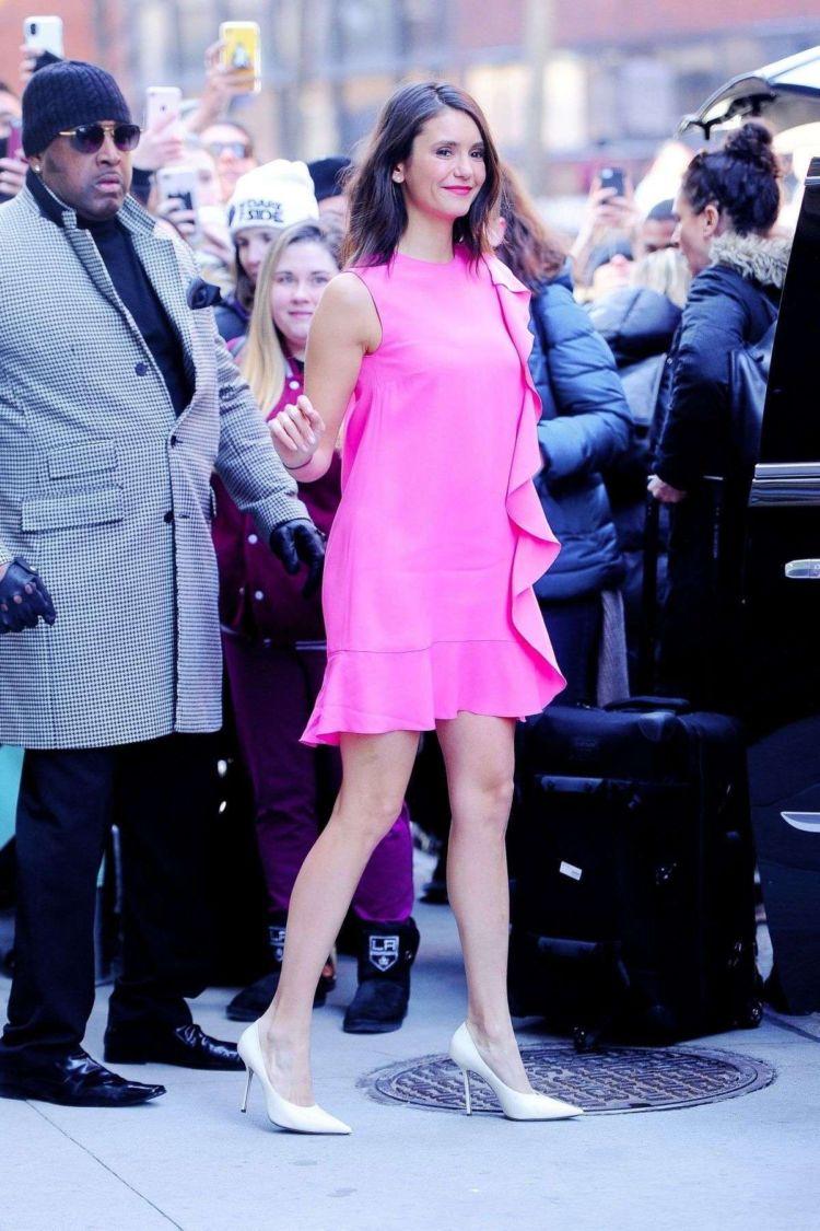 Nina Dobrev In Pink While Arriving At Build Studio In NY
