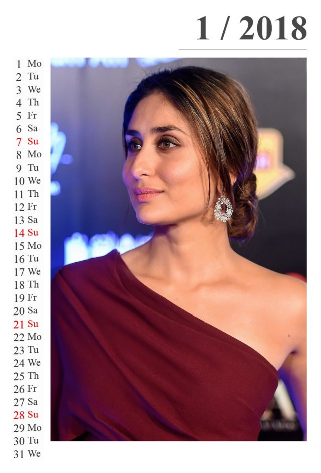 Click to Enlarge - Kareena Kapoor's Exclusive Calendar Of 2018