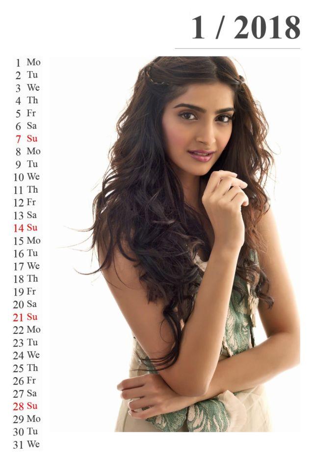 Click to Enlarge - Sonam Kapoor Calendar For 2018