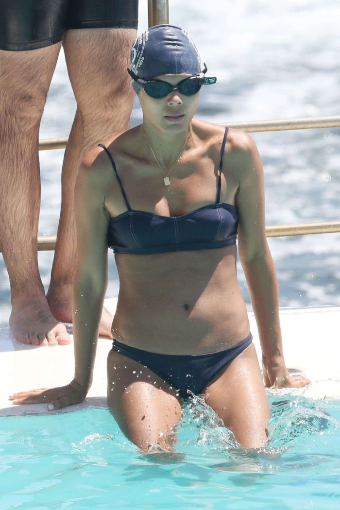 Nathalie Kelley Swimming At The Iceberg's In Sydney